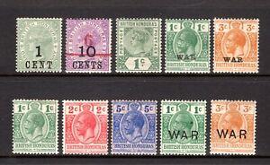 BRITISH HONDURAS QV + KGV LIGHTLY & MOUNTED MINT RANGE x 10 STAMPS CAT £31.55