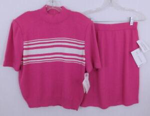 St. JohnCoral Pink & White Stripe Crewneck Sweater Skirt Ensemble M NWT- $510