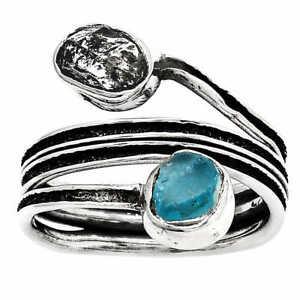 Herkimer Diamond & Neon Blue Apatite 925 Sterling Silver Ring s.7.5 Jewelry E235