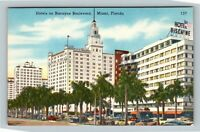 Miami FL, Biscayne Boulevard Hotels, Florida Linen Postcard
