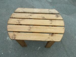 Oval D end Pine Patio Side Table 31 inch long x 21 h x 18 high  Buyer to collect
