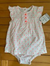 NEW Carter's Size 24 Months White One Piece Outfit with Pink Hearts