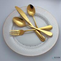24-piece Gold Flatware, Stainless Steel Silverware Set, Reflective Mirror Finish