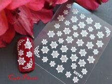 3D Christmas Glitter White Snowflakes Nail Art Stickers Decal Xmas Sparkles 183x