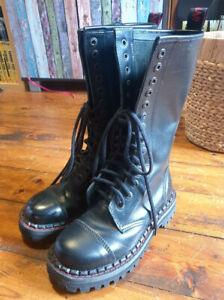 Aderlass Lederstiefel 37 Boots Stahlkappe Punk Gothic Festival 14 Eye