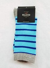 1 PAIR Hollister California by Abercrombie BLUE STRIPE Crew Socks Men Casual