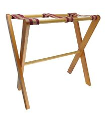 """Folding Wooden Quilt Blanket Stand 28 x 24 x 12"""" Red Gold Fabric Ribbons"""