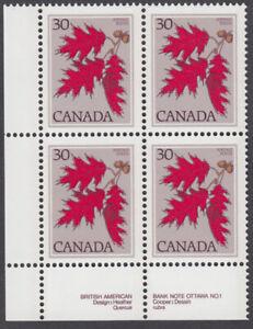 Canada - #720 Red Oak Plate Block  - MNH