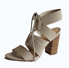 Lace -up Tie Chunky Heel Sandal Light Beige