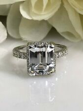 3.45CT Emerald & Round White Diamond 925 Silver Women's Wedding Engagement Ring