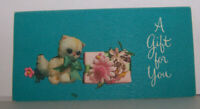 Vintage Greeting Card Hallmark Purr-Puss Adorable Kitten Stuffed Animal Flowers