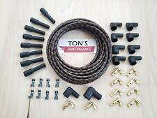 DIY 8mm Suppression Cloth Covered Spark Plug Wire Kit Vintage Wires Black Orange