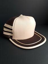 Vintage Trucker Hat Snapback Brown 3 Stripe
