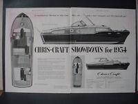 1953 Chris-Craft Showboats 1954 Boats Corvette Commander Vintage Print Ad 10741