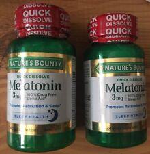 Two (2) Bottles of Nature's Bounty  Melatonin 3 mg, 240 quick dissolving tablets