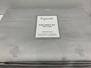 CAPECCHI ITALY KING 4Pc SHEET SET SILVER SATEEN COTTON 300TC EMBROIDERED BEE NEW