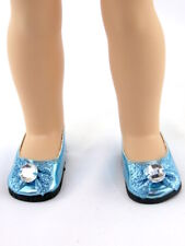 """Teal Rhinestone Bow Dress Shoes Fits Wellie Wishers 14.5"""" American Girl Clothes"""