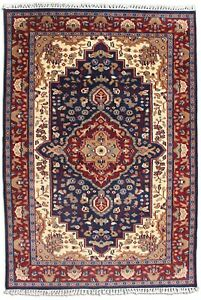 Oriental Rug Blue Red 'Mbhira' Handmade Area Rugs Wool Hand Knotted Carpet 4x6ft