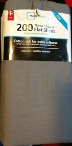 Mainstays 200 Thread Count Cotton Flat Sheet Full Gray Brand New