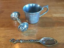 Vintage Antique Silver Plate Baby Rattle Pewter Kirk Stieff Cup Jesus Spoon Lot