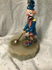 1990 Ron Lee Tee For Two Clown golf statue w/ mouse onyx base golfing figurine