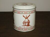 "VINTAGE KITCHEN 5"" HIGH VALLEYBROOK FARMS DUTCH TREATS WINDMILL  TIN CAN *EMPTY*"