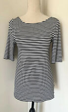 Old Navy Sz M Womens Black White Stripe Half Sleeve Knit Shirt Fitted Scoop Back