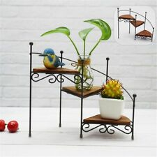 Retro Iron Plant Rack Stand Plant Shelf Staircase  Garden Flower With Wood Plate