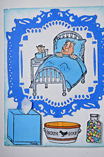 Sick Man & Nurse (U get photo #2only L@@K@examples Art Impressions Rubber Stamps