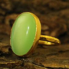 Handmade Hammered Big Light Green Cat Eye Ring Gold Over 925K Sterling Silver