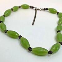 "Vintage Green Glass Barrel Bead Necklace 22"""