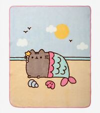 "Pusheen Fleece Blanket Throw Cat Mermaid 48""x60"" NEW"