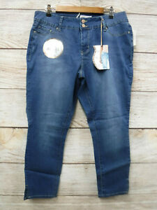 Royalty for Me Jeans Womens 14W Mid Rise Skinny Tummy Control Ankle Stretch New