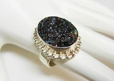 Sterling Silver Ring with Dark Druzy and Beaded Trim Size 6  N549-Q