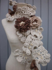 Handmade Crochet Scarf Decorative With Flowers For Women