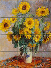 Art Monet Mural Ceramic Sunflowers Backsplash Tile #209