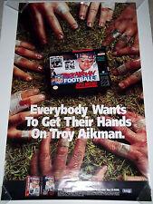 Rare 1994 Super Nintendo TROY AIKMAN FOOTBALL Large Ad Poster Sega Genesis SNES