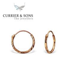 14ct Rose Gold-Plated 925 Sterling Silver 12mm Diamond Cut Hoop Earrings (Pair)