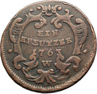 1763 AUSTRIA w Queen Maria Theresa Genuine Antique Kreuzer Austrian Coin i74560