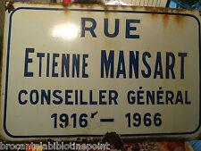 tole emaillee PLAQUE EMAILLEE NOM DE RUE MANSART
