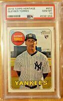 2018 Topps Heritage PSA 10 Gem Mint RC Gleyber Torres #603 Rookie Card Yankees