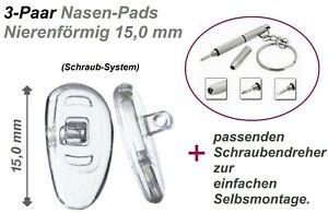 3 Paar (6 Stück) Nasenpads/Brillenpads-Nierenform 15 mm Silikon+Schraubendreher.