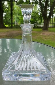 """GORGEOUS Large WATERFORD Crystal """"Clarion"""" Decanter 10.5"""" Tall~Base is 7"""" Square"""