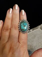Sterling Silver TURQUOISE Ring, Handcrafted MEXICO, Size 6, ROPE & BEAD BORDER