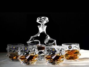 5 Piece Twisted Style Glass Whisky Sharing Set 1 Whisky Decanter + 4 Whisky Cups
