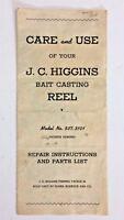 Vtg Care & Use J. C. Higgins Bait Casting Reel Pamphlet, 537.31010, Parts List