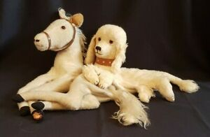 1940s 1950s Pyjama Case Horse And Poodle Straw Stuffed Vintage Soft Toy