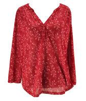 H&M Women's Red Floral Print Long Sleeve Split Neck Blouse Size Medium