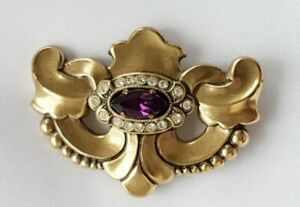 Brooch ~ Victorian Style ~ Amethyst Stone ~ Clear Crystals ~ Antique Gold Tone