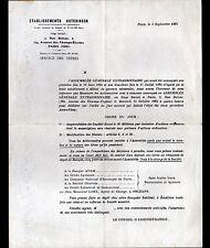 """PARIS (VIII°) PNEUS VELO MOTO AUTOMOBILE """"HUTCHINSON"""" SERVICE des TITRES en 1924"""